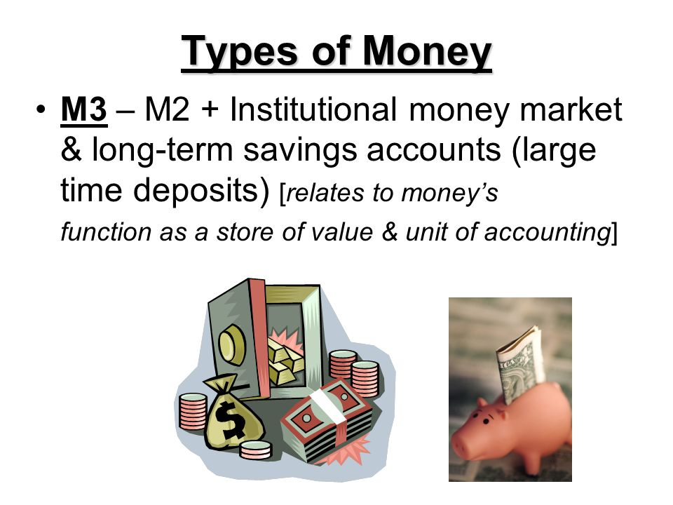 Types of Money M3 – M2 + Institutional money market & long-term savings accounts (large time deposits) [relates to moneys function as a store of value