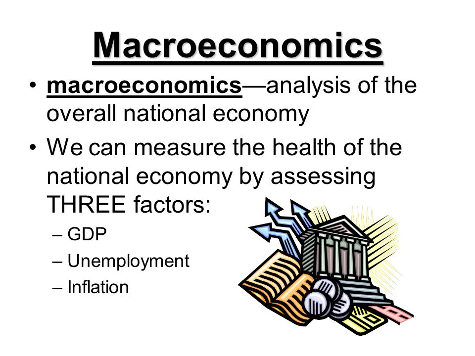 Macroeconomics macroeconomicsanalysis of the overall national economy We can measure the health of the national economy by assessing THREE factors: –G