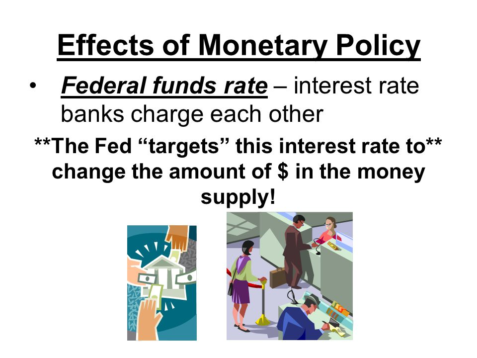 Effects of Monetary Policy Federal funds rate – interest rate banks charge each other **The Fed targets this interest rate to** change the amount of $