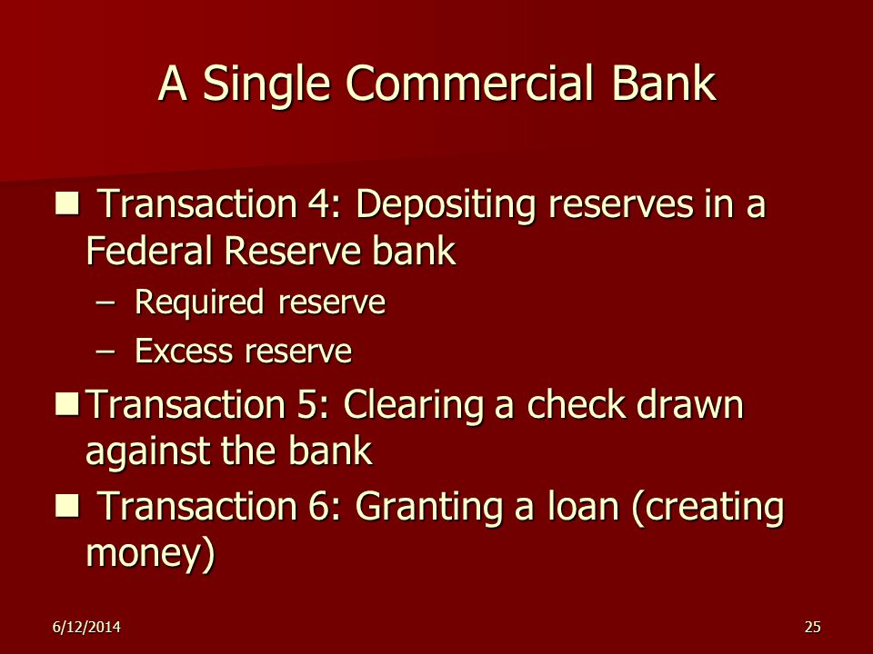 6/12/201425 A Single Commercial Bank Transaction 4: Depositing reserves in a Federal Reserve bank Transaction 4: Depositing reserves in a Federal Rese