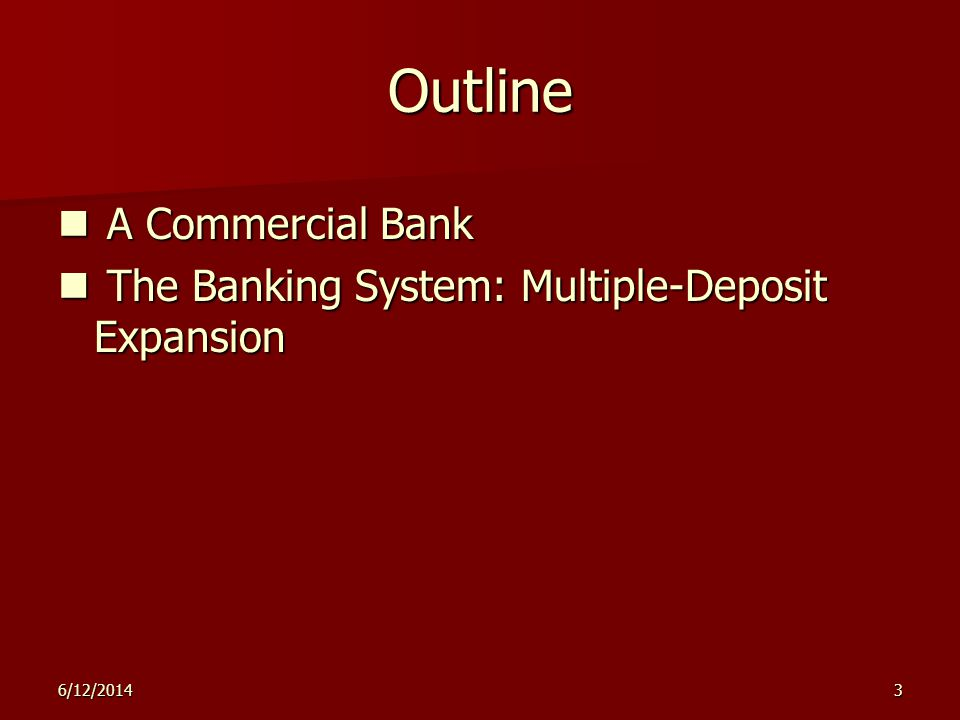 6/12/20143 Outline A Commercial Bank A Commercial Bank The Banking System: Multiple-Deposit Expansion The Banking System: Multiple-Deposit Expansion