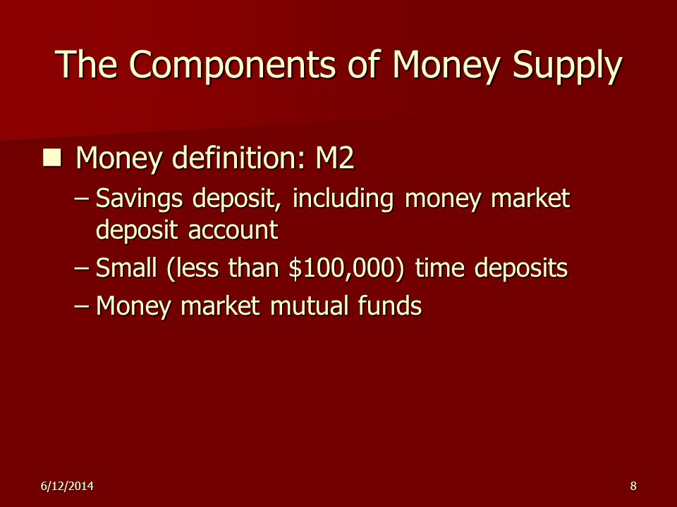 M2 Savings deposits, including MMDAs M1 + Near-monies (can be readily converted into currency or checkable deposits) Small time deposits (< $100,000) MMMFs Savings deposits, including MMDAs Small time deposits (< $100,000) MMMFs Savings deposits, including MMDAs Small time deposits (< $100,000)