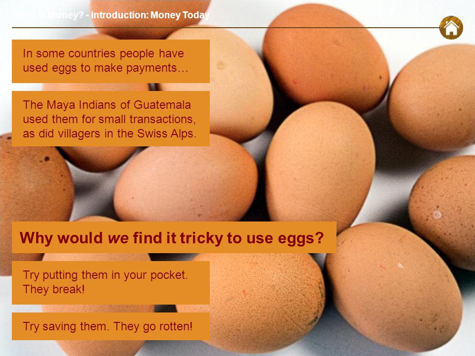 What is Money. - Introduction: Money Today Why would we find it tricky to use eggs.