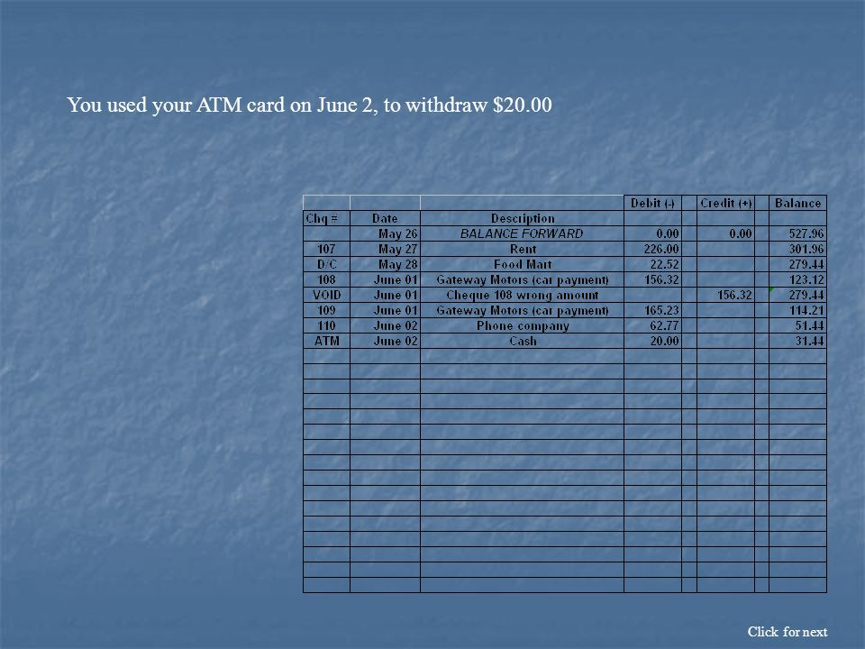 You used your ATM card on June 2, to withdraw $20.00 Click for next