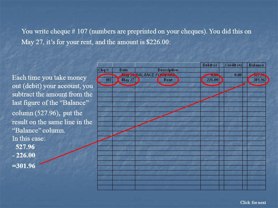 You write cheque # 107 (numbers are preprinted on your cheques).