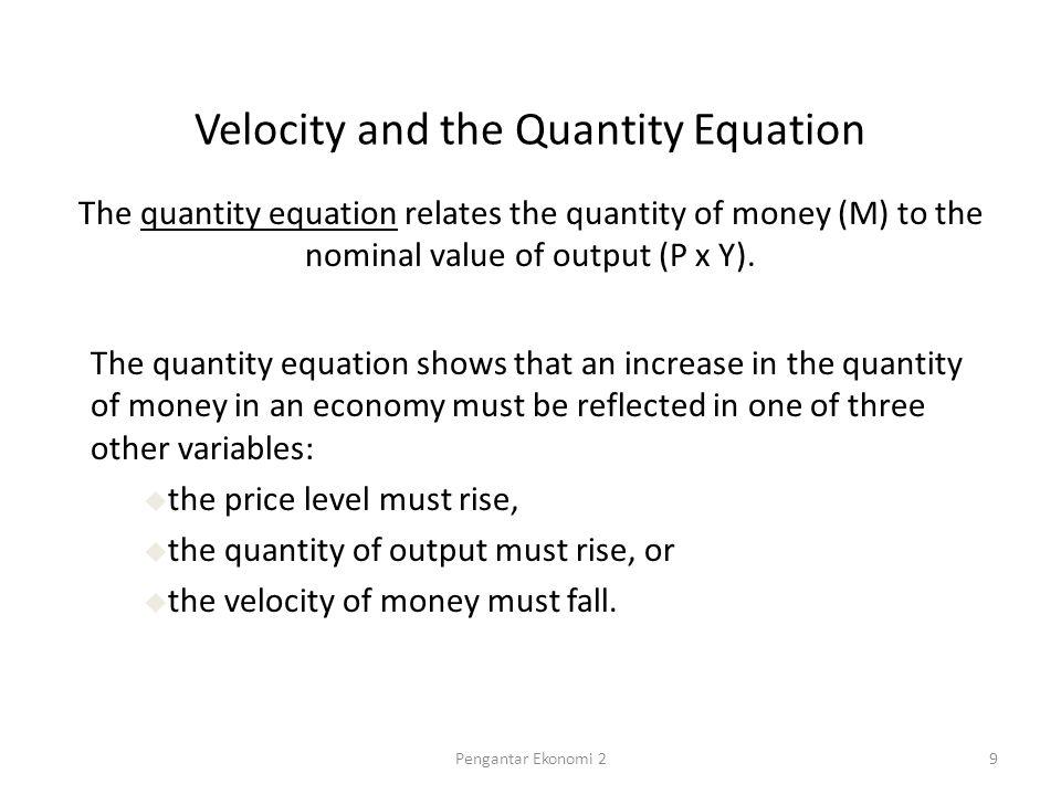 Nominal GDP Indexes (1960 = 100) 1,500 1,000 500 0 196019651970197519801985199019952000 M2 Nominal GDP, the Quantity of Money, and the Velocity of Money Velocity 10Pengantar Ekonomi 2
