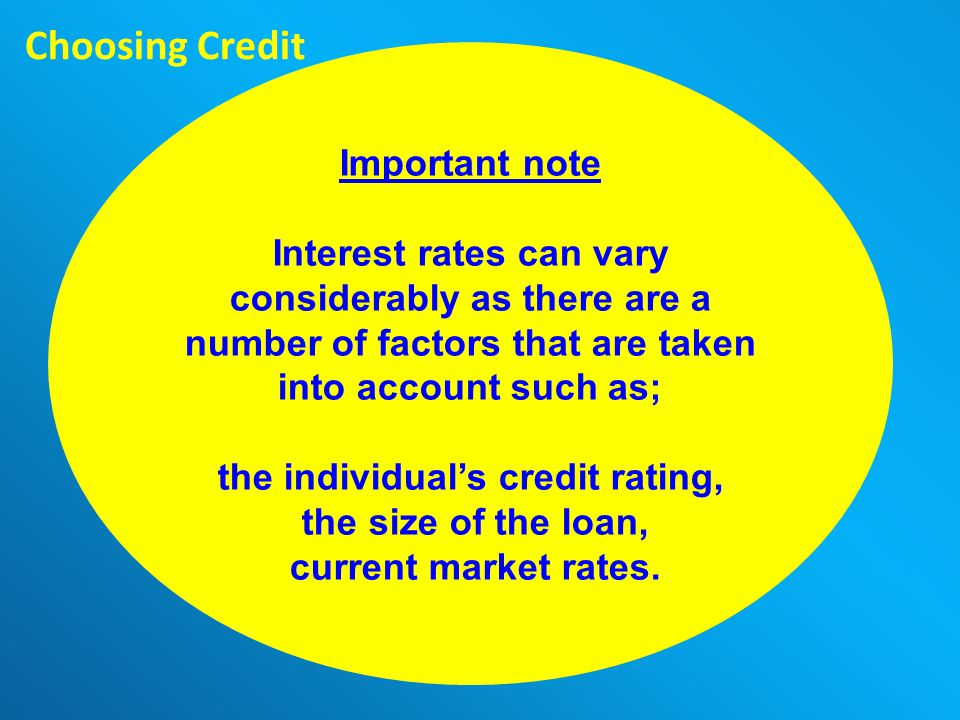 The Charity for your Community Choosing Credit Important note Interest rates can vary considerably as there are a number of factors that are taken into account such as; the individuals credit rating, the size of the loan, current market rates.