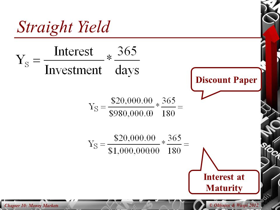 Chapter 10: Money Markets Straight Yield © Oltheten & Waspi 2012 Discount Paper Interest at Maturity