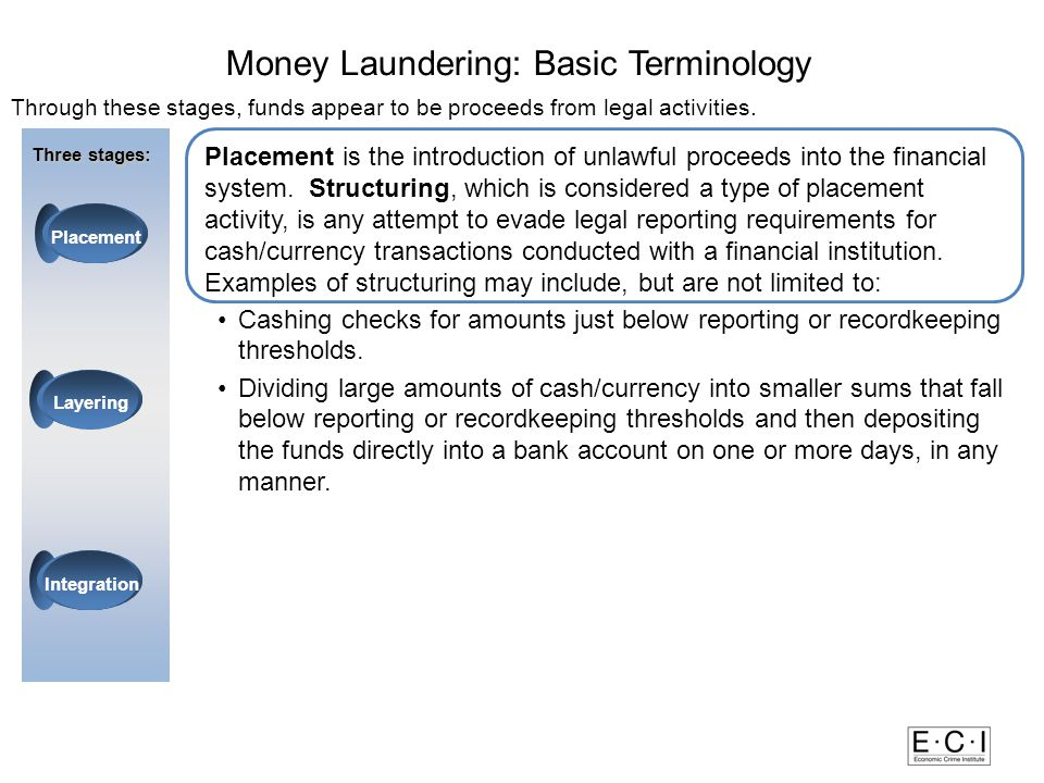 Through these stages, funds appear to be proceeds from legal activities.