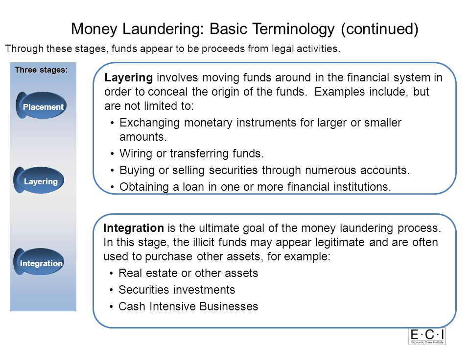 LayeringIntegration Placement Case Study: Placement, Layering, and Integration Money Laundering and Terrorist Financing Overview The following case study details how four university students involved in an international money laundering ring, moved millions of dollars of illicit drug proceeds through financial institutions.