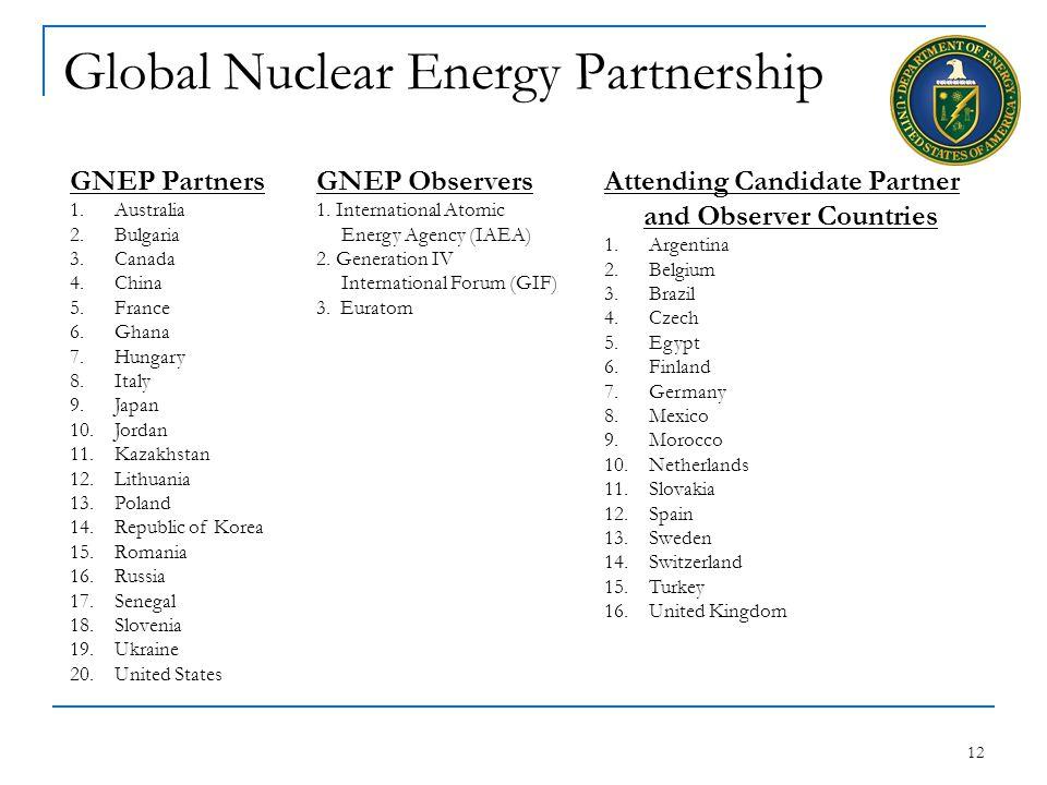 12 Global Nuclear Energy Partnership GNEP Partners 1.