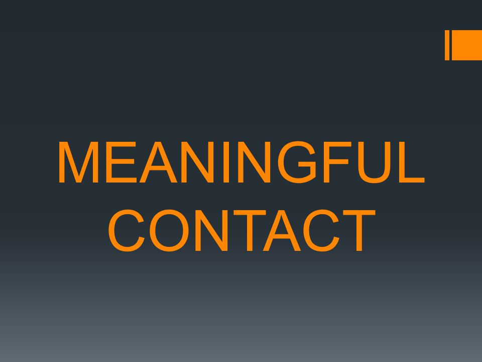 MEANINGFUL CONTACT