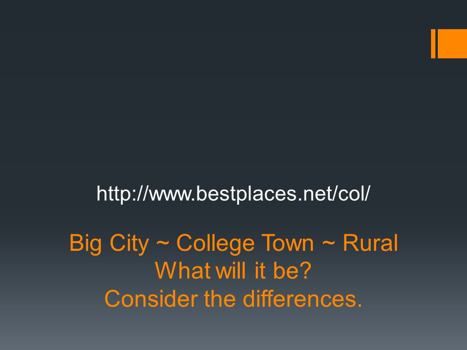 Big City ~ College Town ~ Rural What will it be. Consider the differences.