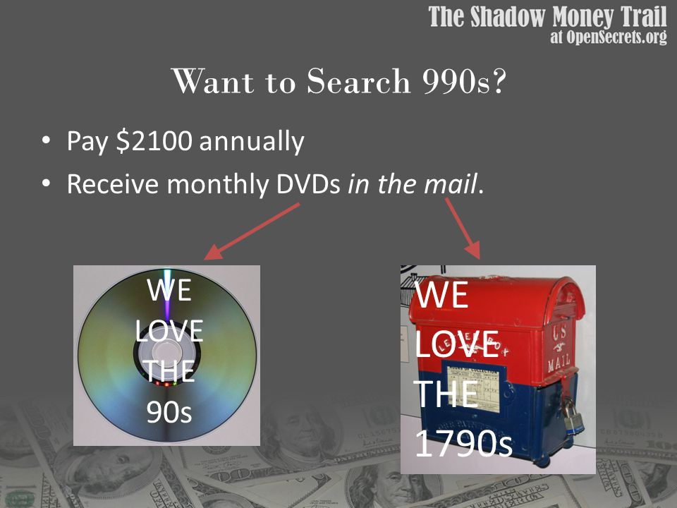 Want to Search 990s. Pay $2100 annually Receive monthly DVDs in the mail.