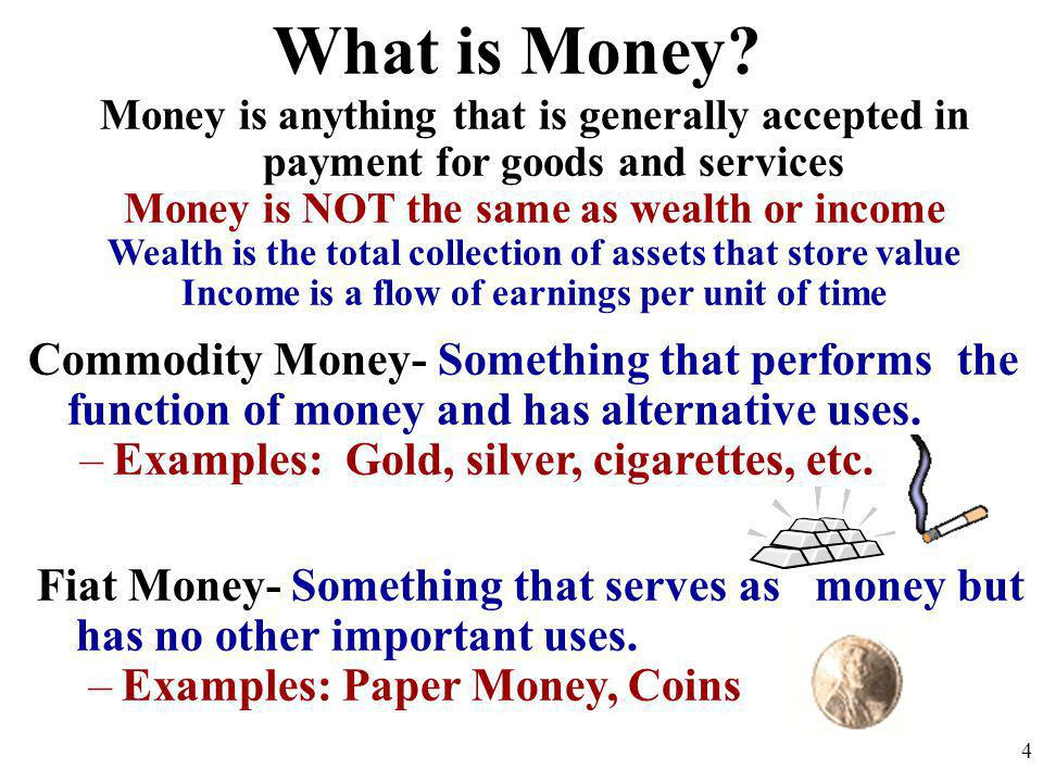 What is Money? Money is anything that is generally accepted in payment for goods and services Money is NOT the same as wealth or income Wealth is the