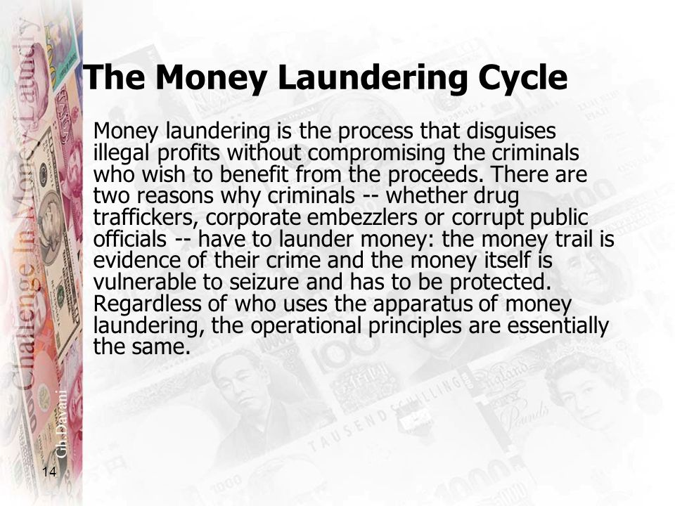 14 The Money Laundering Cycle Money laundering is the process that disguises illegal profits without compromising the criminals who wish to benefit fr
