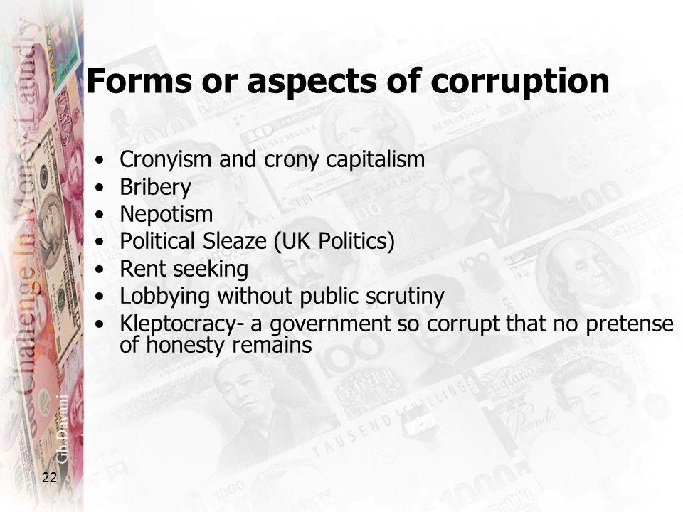 22 Cronyism and crony capitalism Bribery Nepotism Political Sleaze (UK Politics) Rent seeking Lobbying without public scrutiny Kleptocracy- a governme