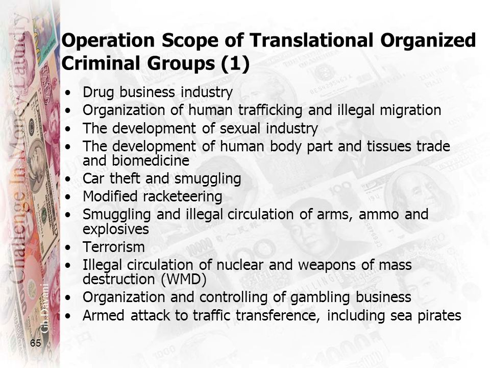 65 Operation Scope of Translational Organized Criminal Groups (1) Drug business industry Organization of human trafficking and illegal migration The d