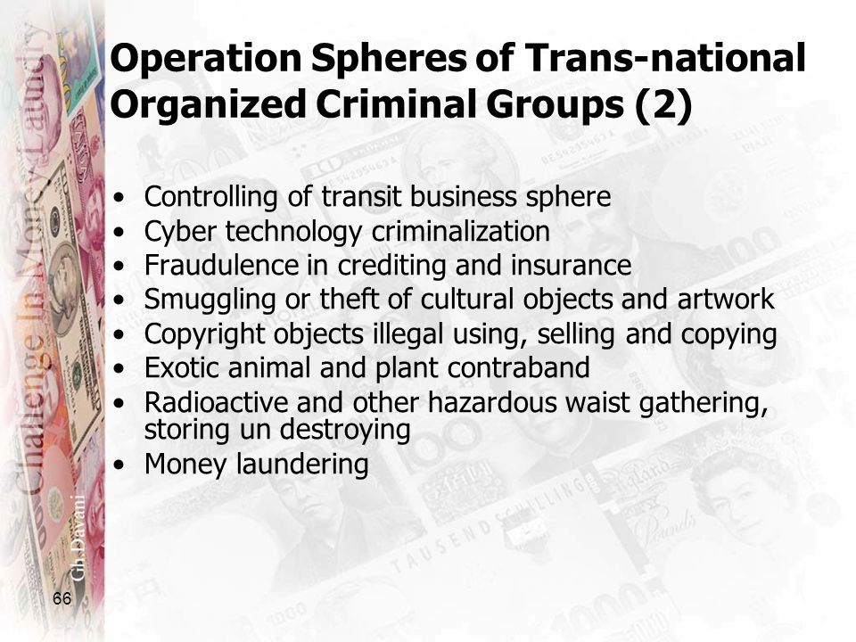 66 Operation Spheres of Trans-national Organized Criminal Groups (2) Controlling of transit business sphere Cyber technology criminalization Fraudulen