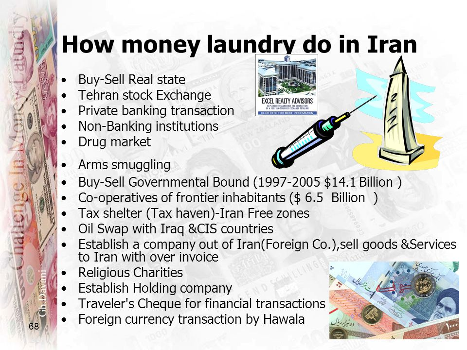 68 How money laundry do in Iran Buy-Sell Real state Tehran stock Exchange Private banking transaction Non-Banking institutions Drug market Arms smuggl