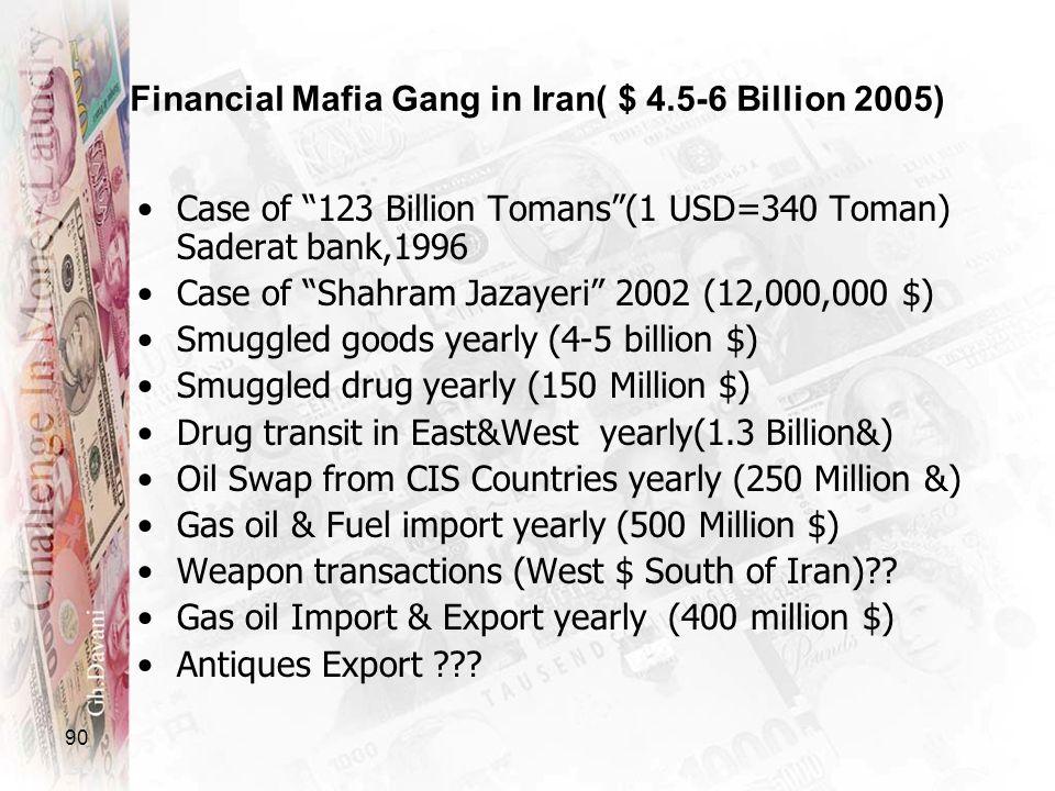 90 Financial Mafia Gang in Iran( $ 4.5-6 Billion 2005) Case of 123 Billion Tomans(1 USD=340 Toman) Saderat bank,1996 Case of Shahram Jazayeri 2002 (12