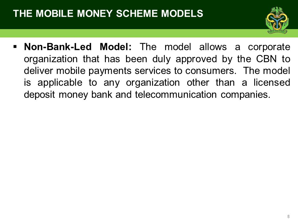 9 ACHIEVEMENT OF THE MOBILE MONEY SCHEME With the licensing of 18 Mobile Money Operators thus far, the mobile money space has witnessed a lot of revolution.