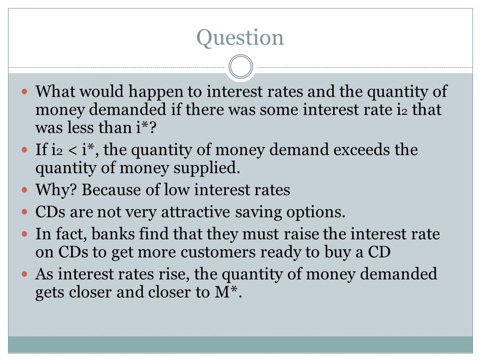 Question What would happen to interest rates and the quantity of money demanded if there was some interest rate i 2 that was less than i*.