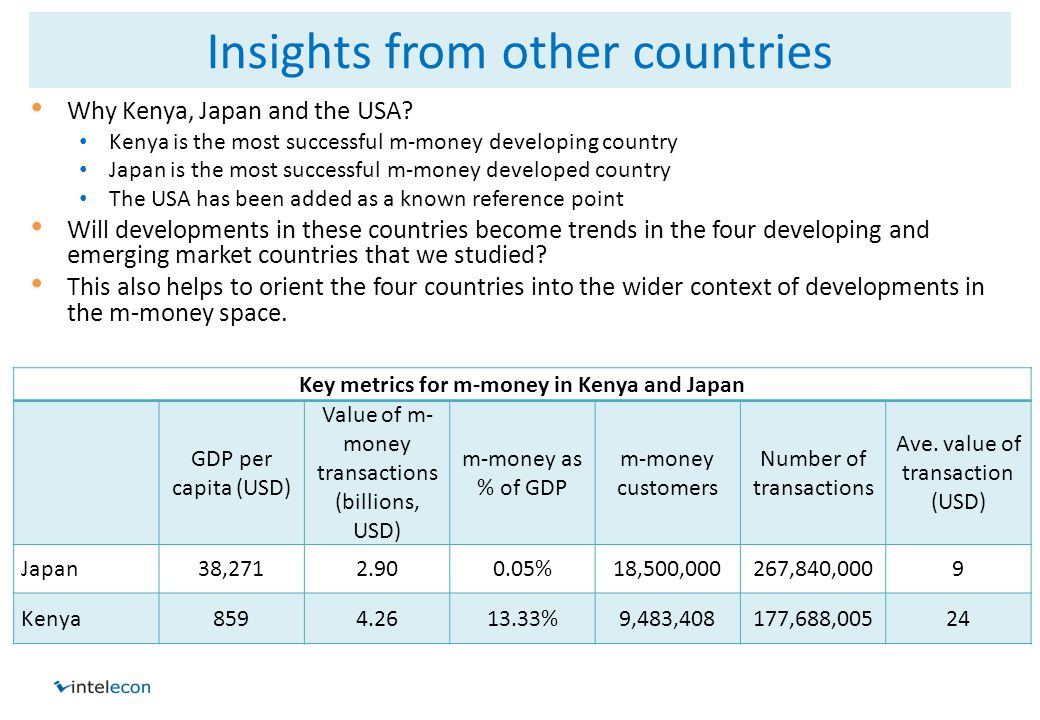 Insights from other countries Why Kenya, Japan and the USA.