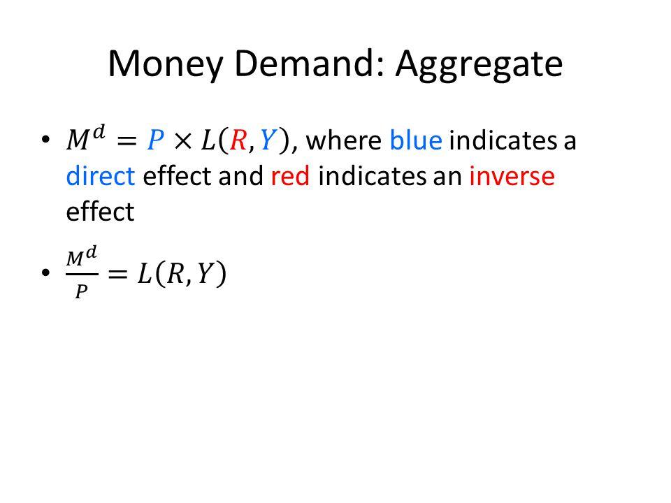 Money Demand: Aggregate