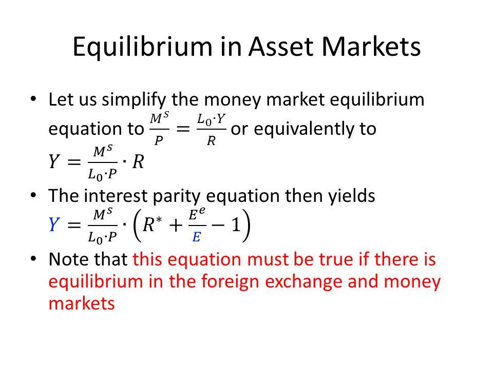 Equilibrium in Asset Markets