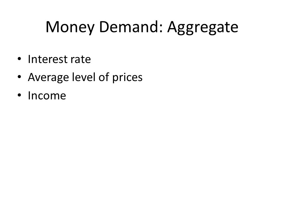 Money Demand: Aggregate Interest rate Average level of prices Income