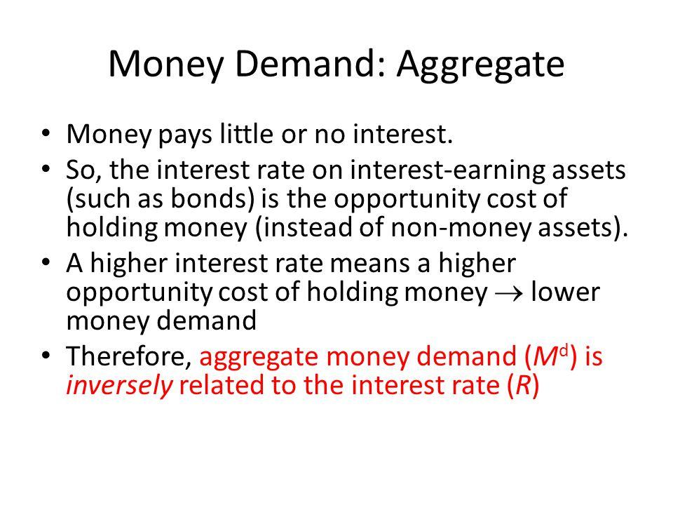 Money Demand: Aggregate Money pays little or no interest.
