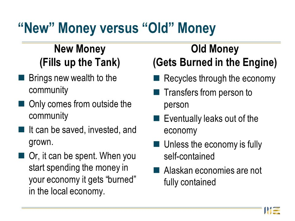 New Money versus Old Money New Money (Fills up the Tank) Brings new wealth to the community Only comes from outside the community It can be saved, inv