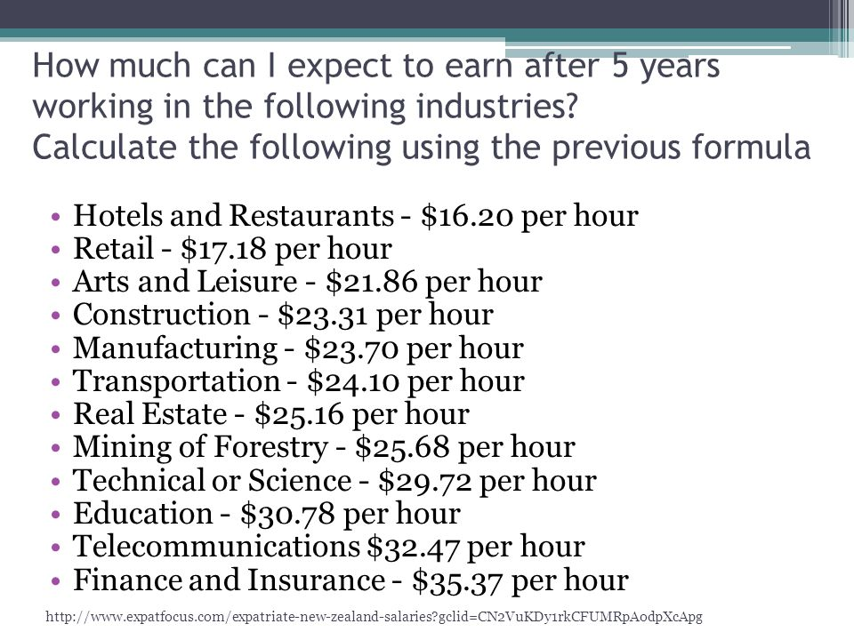 How much can I expect to earn after 5 years working in the following industries.