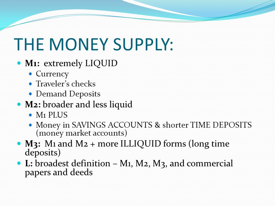 THE MONEY SUPPLY: M1: extremely LIQUID Currency Travelers checks Demand Deposits M2: broader and less liquid M1 PLUS Money in SAVINGS ACCOUNTS & shorter TIME DEPOSITS (money market accounts) M3: M1 and M2 + more ILLIQUID forms (long time deposits) L: broadest definition – M1, M2, M3, and commercial papers and deeds