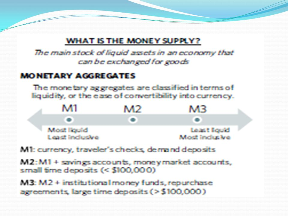 The Equation of Exchange: MV = PQ M= the stock of money (how much) V=the velocity of money (how often it turns over or changes hands) Q=is the output of goods and services (quantity) P=is the average current price
