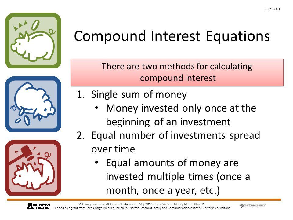 © Family Economics & Financial Education – May 2012 – Time Value of Money Math – Slide 11 Funded by a grant from Take Charge America, Inc.