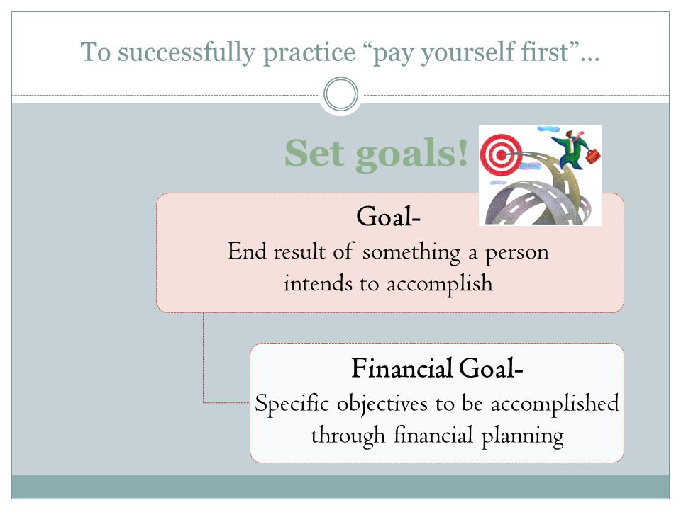 To successfully practice pay yourself first… Set goals! Goal- End result of something a person intends to accomplish Financial Goal- Specific objectiv