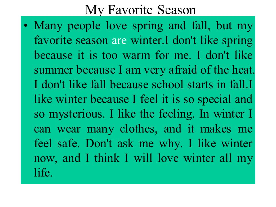 Essay About My Favorite Season Summer David
