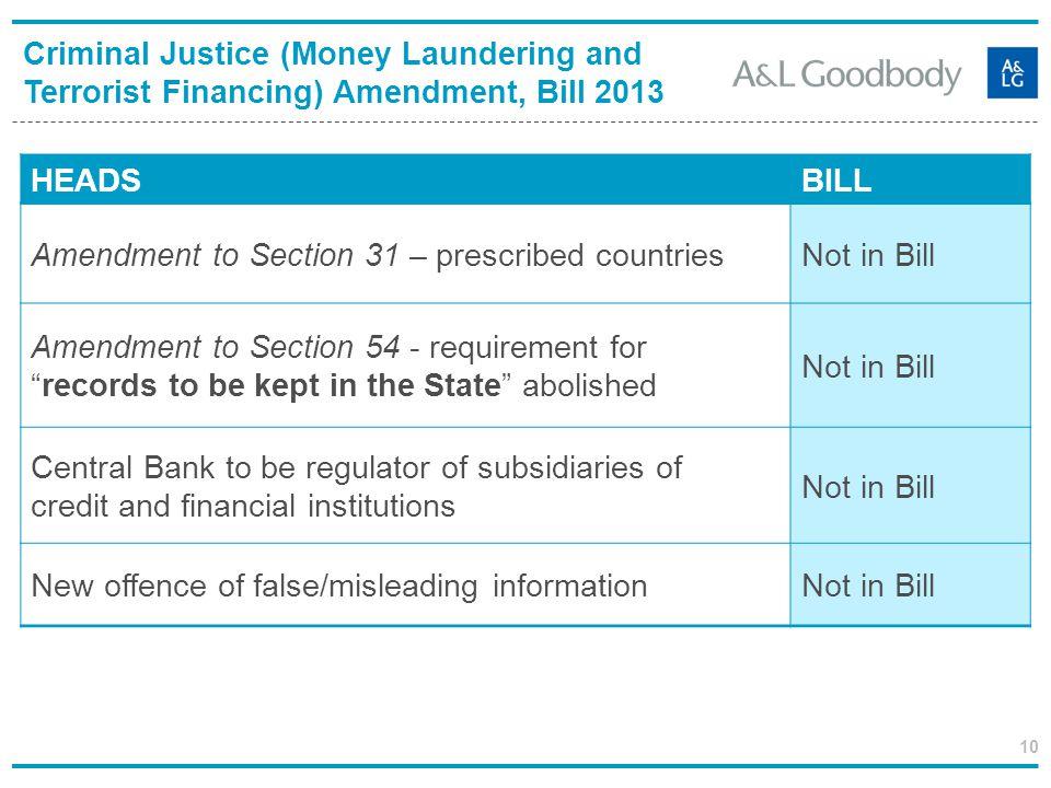 10 Criminal Justice (Money Laundering and Terrorist Financing) Amendment, Bill 2013 HEADS BILL Amendment to Section 31 – prescribed countriesNot in Bi