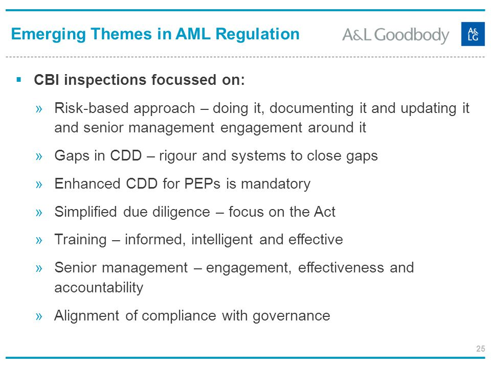 25 CBI inspections focussed on: »Risk-based approach – doing it, documenting it and updating it and senior management engagement around it »Gaps in CD