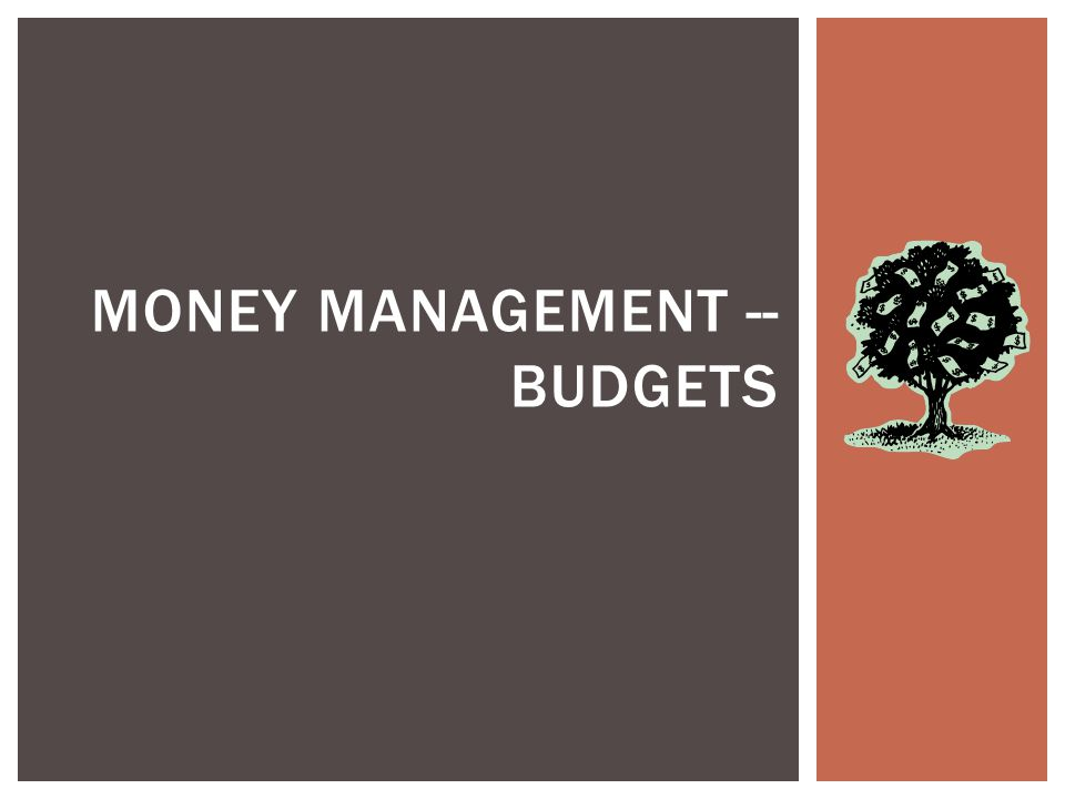 MONEY MANAGEMENT -- BUDGETS