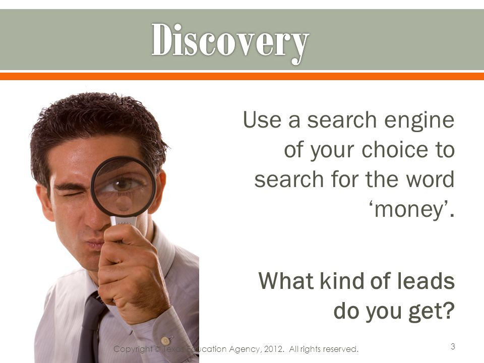 Use a search engine of your choice to search for the word money.