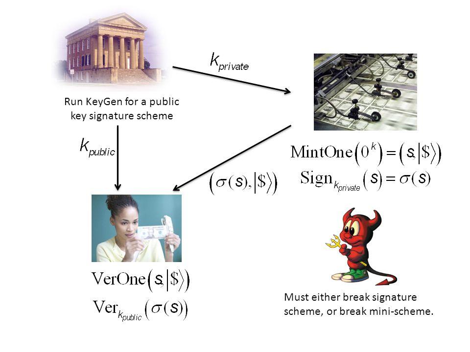 Run KeyGen for a public key signature scheme Must either break signature scheme, or break mini-scheme.