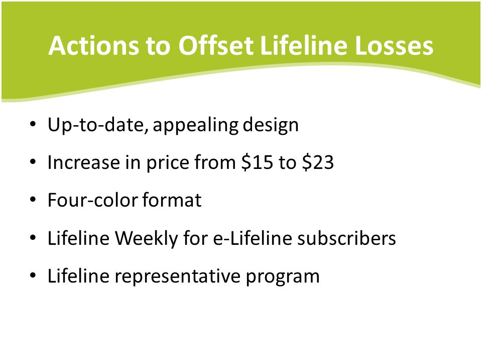 Actions to Offset Lifeline Losses Up-to-date, appealing design Increase in price from $15 to $23 Four-color format Lifeline Weekly for e-Lifeline subscribers Lifeline representative program