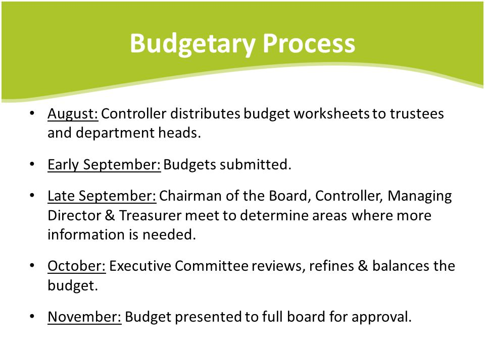 Budgetary Process August: Controller distributes budget worksheets to trustees and department heads.