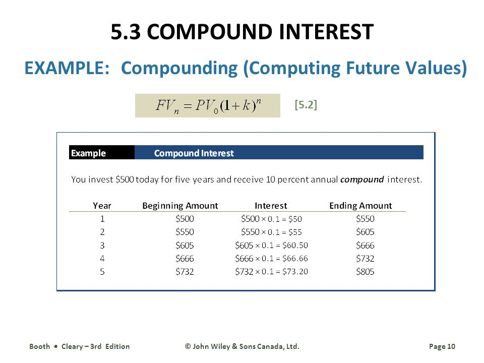 EXAMPLE:Compounding (Computing Future Values) Booth Cleary – 3rd EditionPage 10© John Wiley & Sons Canada, Ltd.