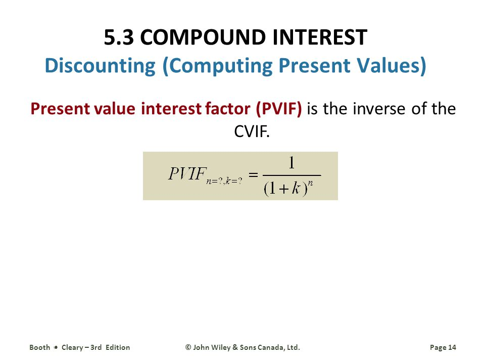 Present value interest factor (PVIF) is the inverse of the CVIF.