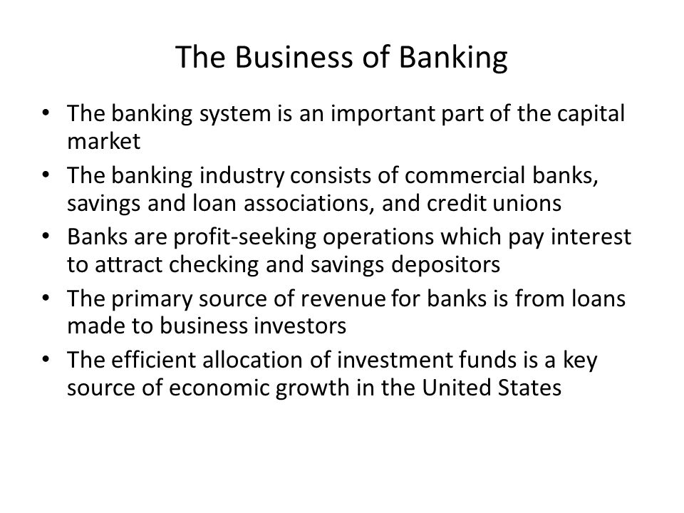 Commercial banks offer a wide range of services including checking and saving, making loans, etc, and are owned by stockholders All commercial banks operate under the Federal Reserve System In banking, checking, savings and CDs are liabilities, i.e., they are an obligation by the bank to depositors to pay on demand Major assets to the banks are interest-earning loans and interest-earning securities such as government or private corporate bonds