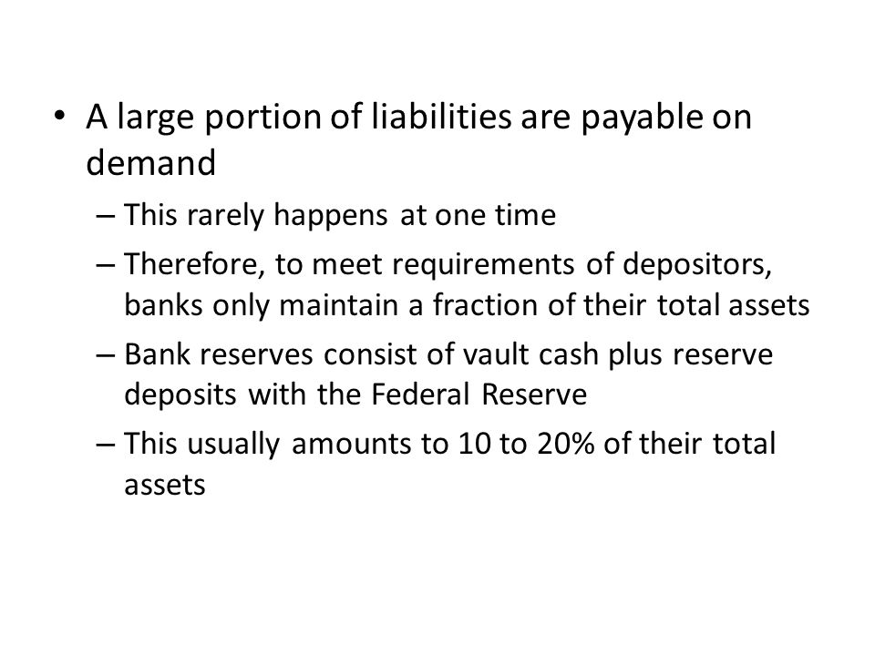 The Fed is cautious about regulating the reserve requirements (and altering the supply of money) to often because: – Changes in reserve requirements can be disruptive of banking operations – A sudden change could require a bank to sell securities or call in loans – It is only a very crude control; the outcome is somewhat uncertain in terms of money supply